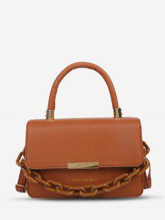 Chain Embellishment Tote Crossbody Bag - Brown