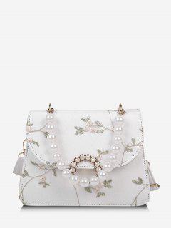 Estampado Floral De La Perla De Faux Del Bolso De Crossbody - Blanco