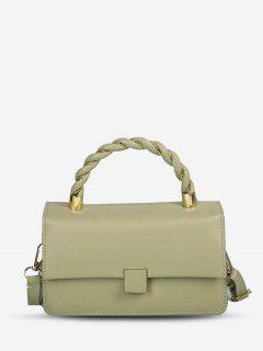 Double Strap Faux Leather Flap Crossbody Bag - Light Green