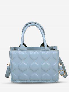 Sweet Heart Embossed Tote Crossbody Bag - Powder Blue