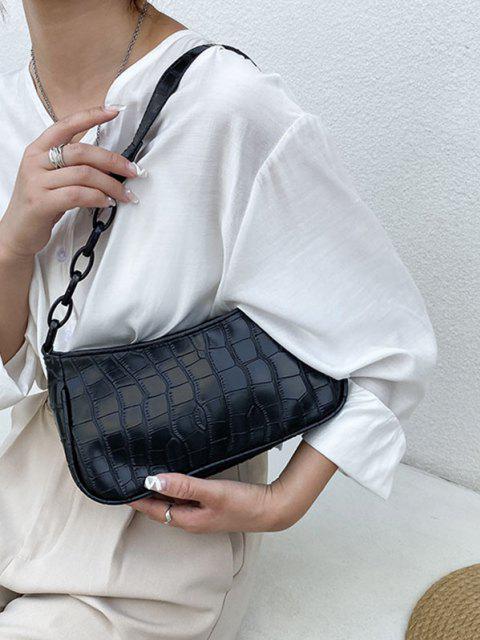 Tier Textur Kette Detail Umhängetasche - Schwarz  Mobile