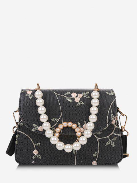 Künstliche Perle Umhängetasche mit Blumenmuster - Schwarz  Mobile