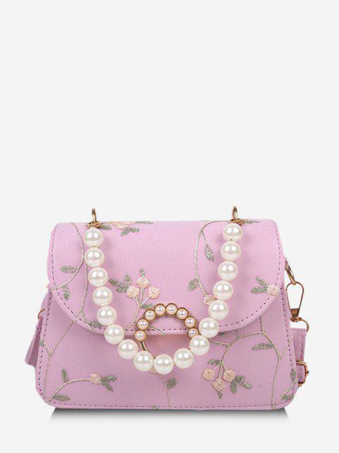 Estampado Floral de La Perla de Faux del Bolso de Crossbody - Rosado  Mobile
