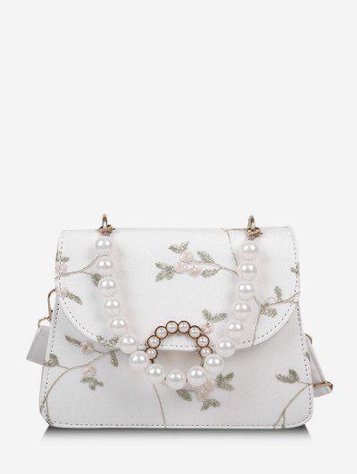 Floral Print Faux Pearl Crossbody Bag - Milk White
