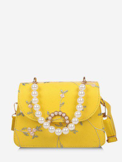 Floral Print Faux Pearl Crossbody Bag - Yellow