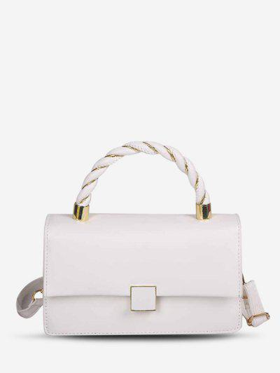 Double Strap Faux Leather Flap Crossbody Bag - Milk White