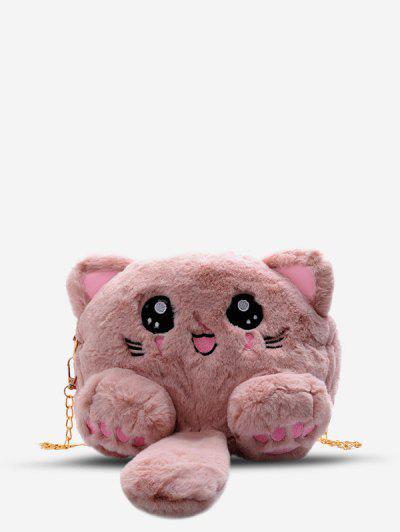 Faux Fur Cat Shape Crossbody Bag - Pink