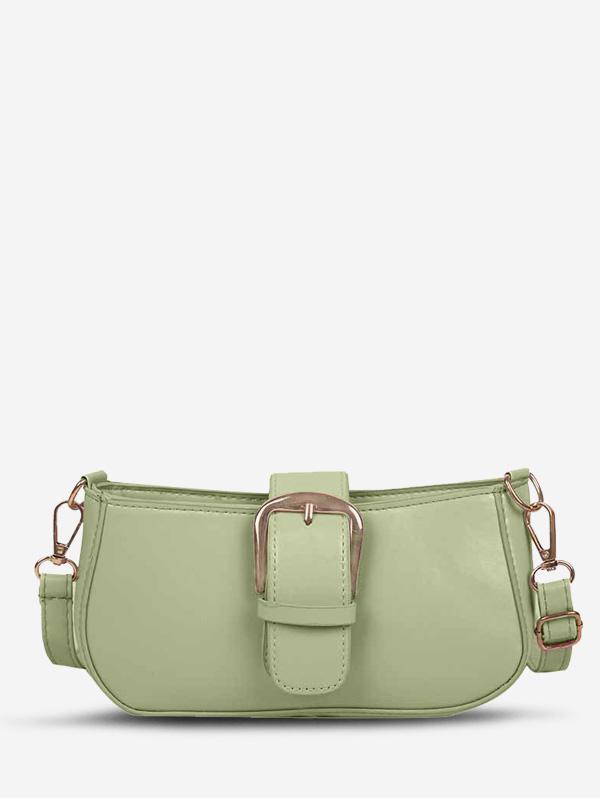 Faux Leather Buckle Embellished Crossbody Bag