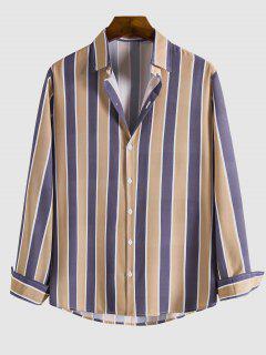 Camisa A Rayas Contrastadas Botón - Multicolor L