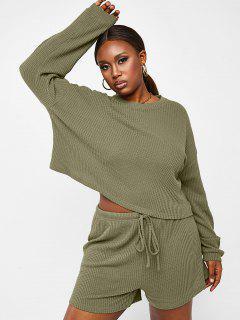 ZAFUL Plus Size Textured Knit Two Piece Shorts Set - Light Green 5xl