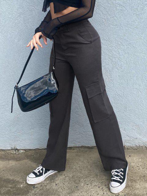 chic ZAFUL Pockets High Rise Wide Leg Pants - BLACK M Mobile