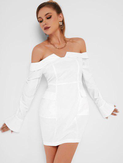 Off Shoulder Flap Pocket Long Sleeve Dress - White L