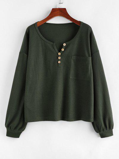 ZAFUL V Notch Pocket Drop Shoulder Knit Tee - Deep Green Xl
