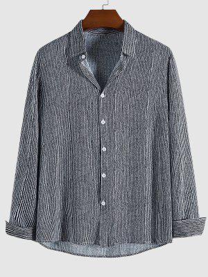 zaful Striped Printed Long Sleeve Shirt