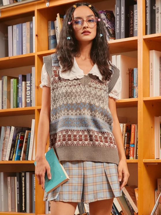 Pullover Weste mit V Ausschnitt und Grafik - Multi Eine Größe