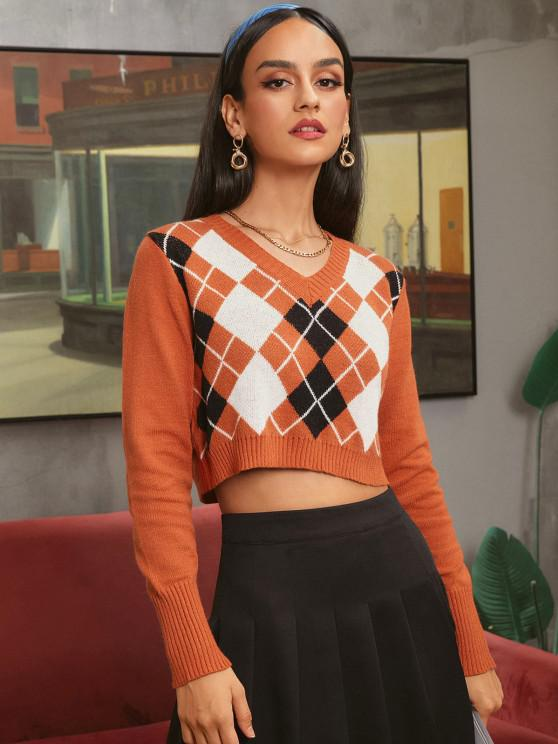 buy ZAFUL Argyle V Neck Crop Sweater - ORANGE M