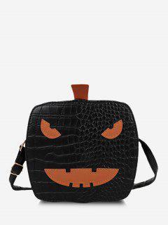 Cartoon Pumpkin Croc Print Halloween Crossbody Bag - Black