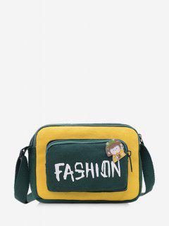 Colorblock Letter Canvas Crossbody Bag - Sun Yellow