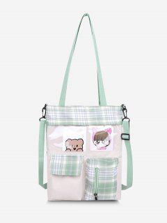 Cartoon Plaid Pockets Tote Bag - Light Green