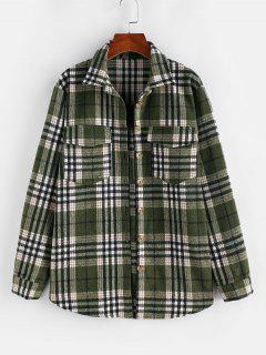 ZAFUL Plaid Cargo Pockets Boyfriend Shirt - Deep Green M