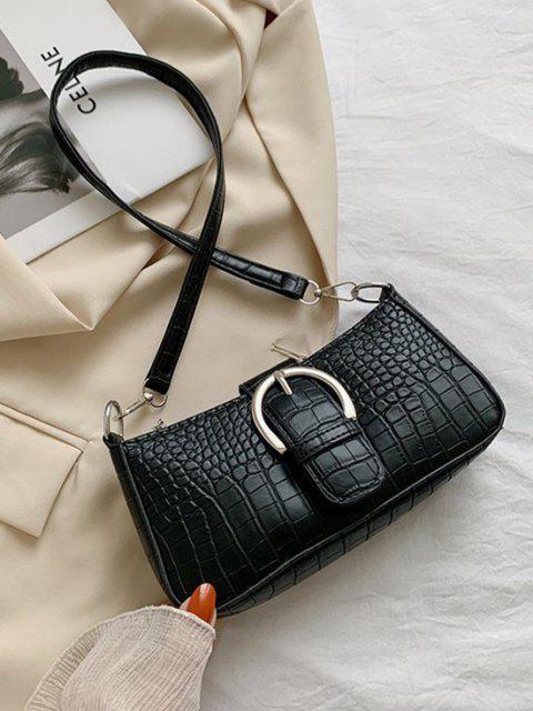 Croc Print Schulter Baguette Tasche - Schwarz  Mobile