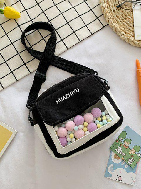Colorblock Pompom Crossbody Bag - Schwarz  Mobile