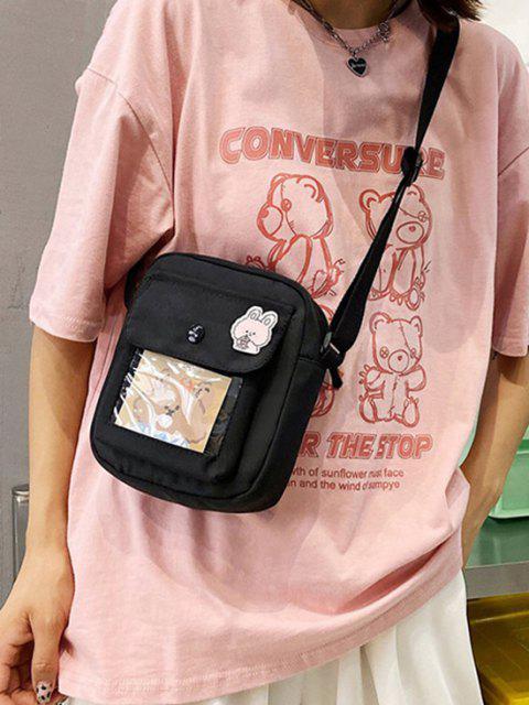 Transparente Taschenkarikatur-Crossbody-Tasche - Schwarz  Mobile