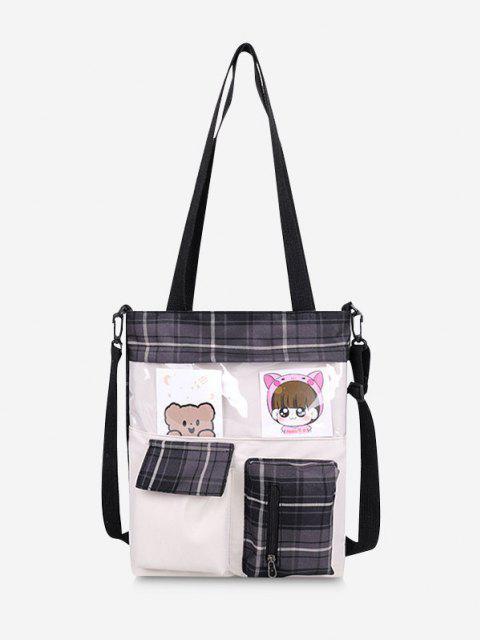 Cartoon Karierter Taschen Handtasche - Schwarz  Mobile