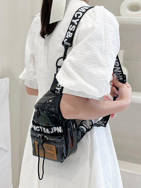 Buchstaben Druck Patch Brusttasche - Schwarz  Mobile