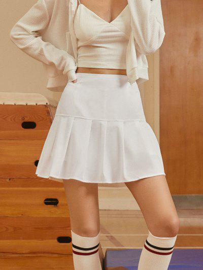 Side Zipper Solid Pleated Mini Skirt - White S