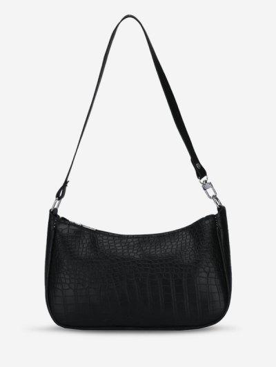 Croc Print Shoulder Bag - Black