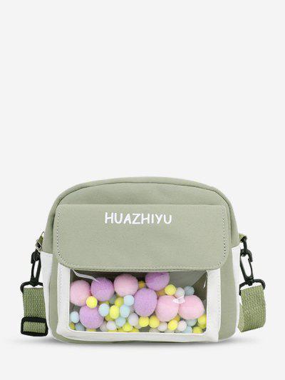 Colorblock Pompom Crossbody Bag - Hellgrün