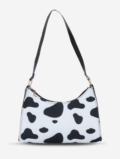 Animal Print Shoulder Bag - Black
