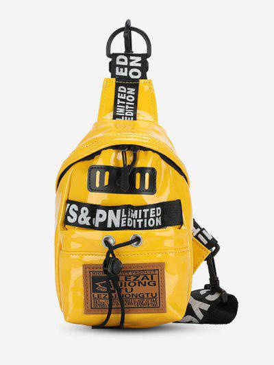 Letters Print Patch Chest Bag - Sun Yellow