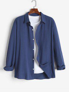 Camisa De Color Sólido De Manga Larga - Azul Profundo Xl