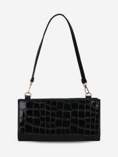 Solid Color Croc Embossed Shoulder Bag - Black