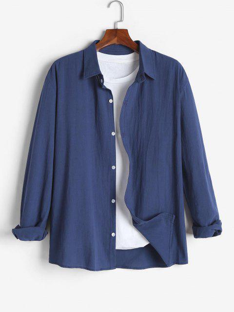 Camisa de Color Sólido de Manga Larga - Azul Profundo XL Mobile