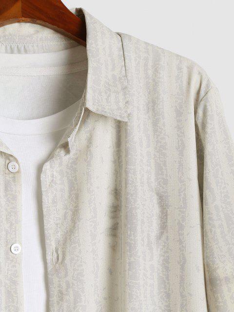Camisa de Tie-dye con Estampado de Rayas - Amarillo claro 2XL Mobile