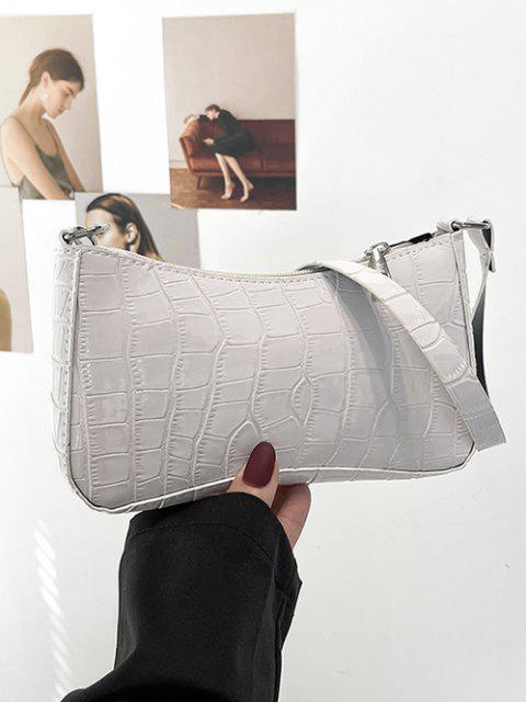 Croc-gedruckte Umhängetasche - Milchweiß  Mobile