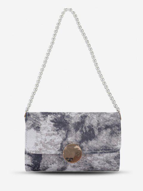 Krawattenfärbender Künstliche Perle Kette Umhängetasche - Schwarz  Mobile