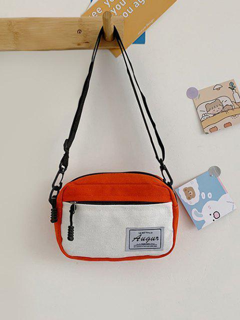 Farbblock Patch Canvas Umhängetasche - Orange  Mobile