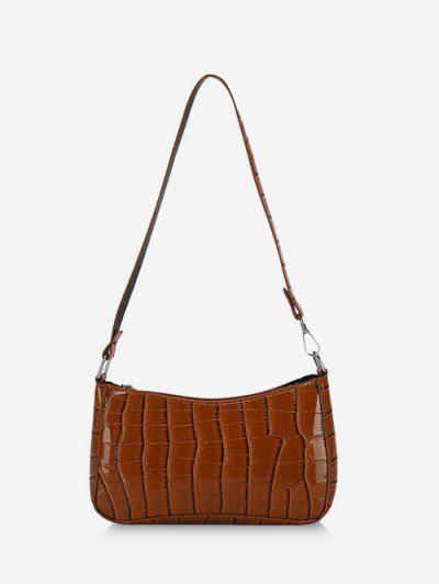 Croc Printed Shoulder Bag - Brown