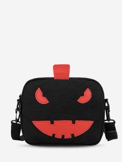 Halloween Cartoon Pumpkin Canvas Crossbody Bag - Black