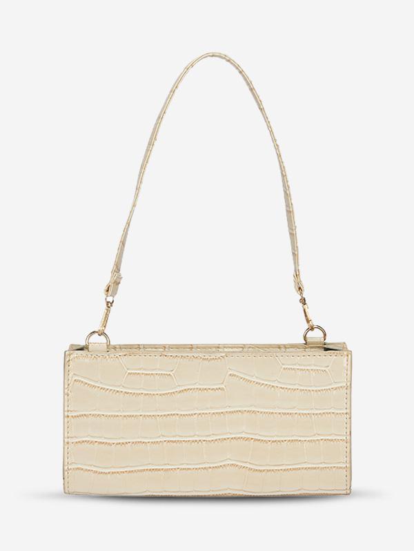 Solid Color Croc Embossed Shoulder Bag