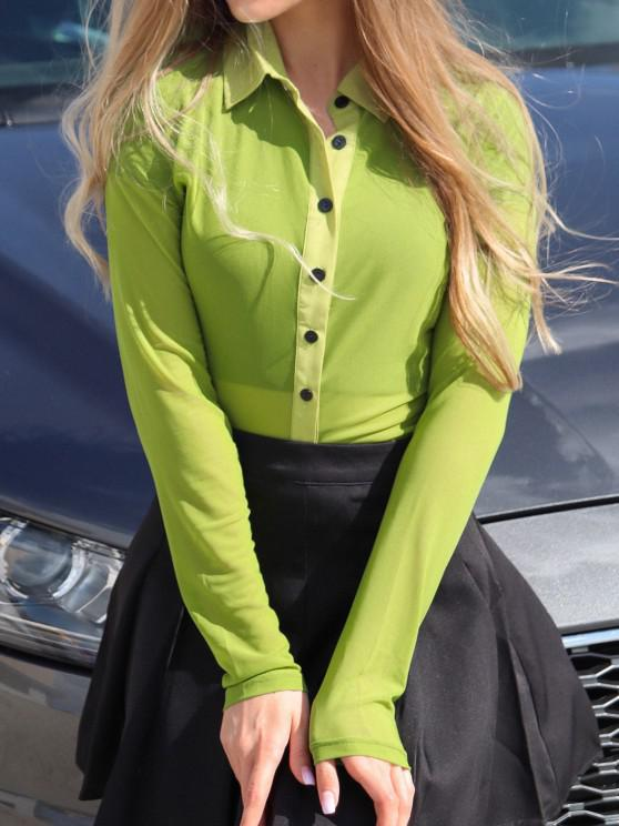 latest Mesh See Thru Button Up Blouse - GREEN S