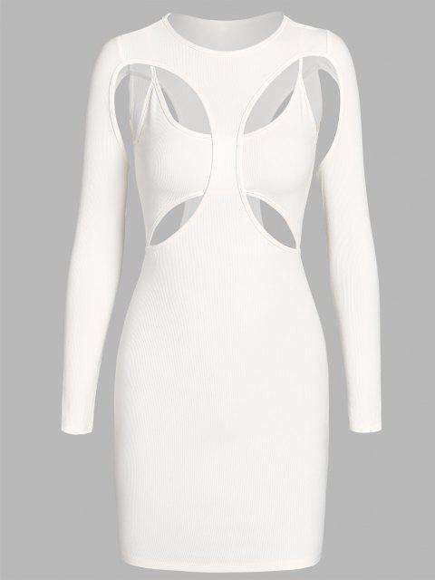 ZAFUL Geripptes Bodycon Minikleid mit Ausschnitt - Weiß L Mobile