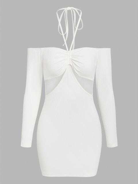 ZAFUL Geripptes Verkürztes Kleid mit Erdbeerstrickmuster - Weiß XL Mobile