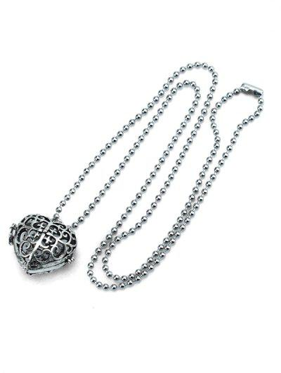 Retro Hollow Out Heart Locket Necklace - Silver