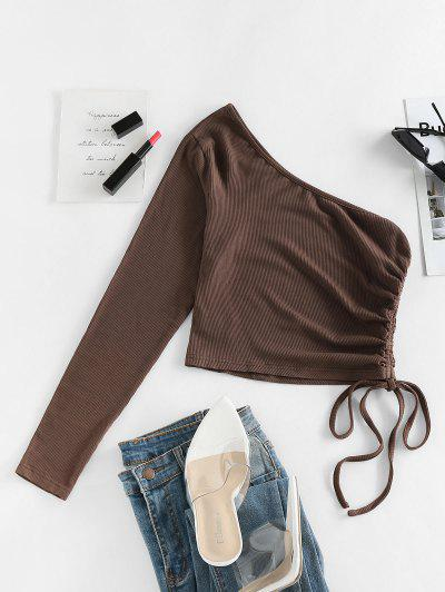 ZAFUL Cinched One Shoulder Cropped Tee - Deep Coffee M