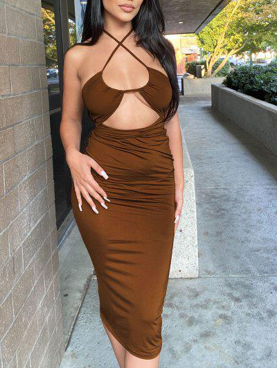 Halter Cut Out Tea Length Sheath Dress - Coffee S